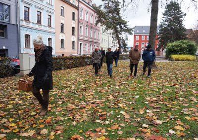 Eine Menschengruppe geht durch den Stadtpark.